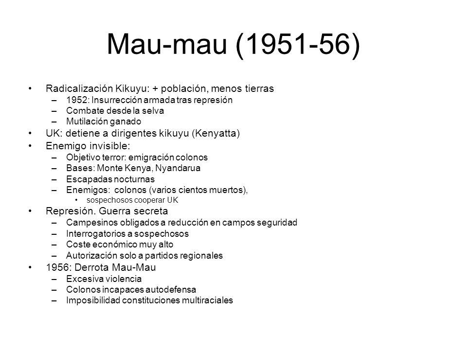 Mau-mau (1951-56) Radicalización Kikuyu: + población, menos tierras