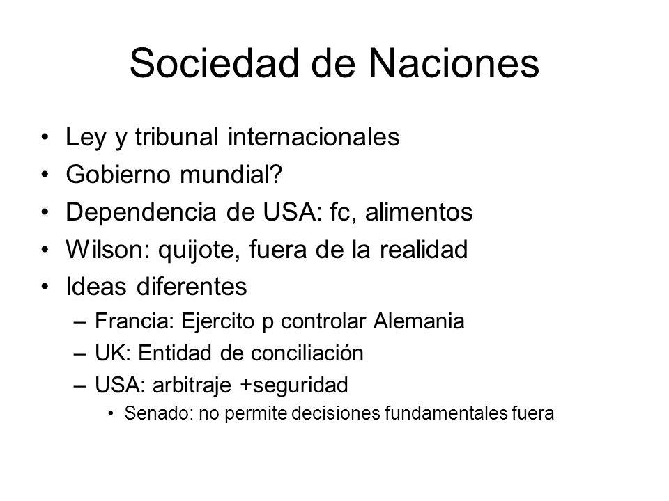Sociedad de Naciones Ley y tribunal internacionales Gobierno mundial