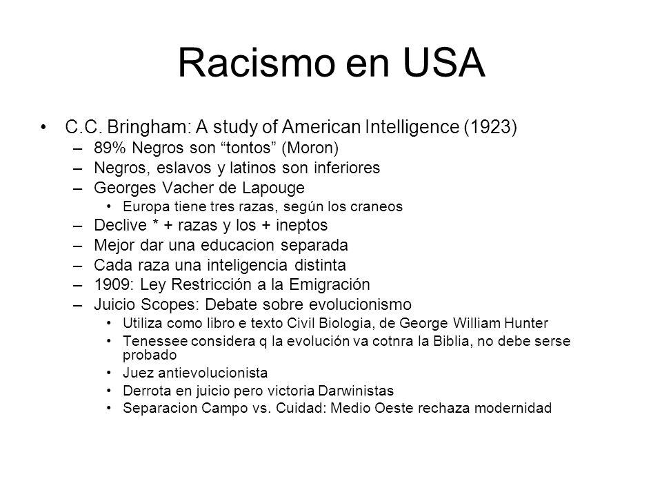 Racismo en USA C.C. Bringham: A study of American Intelligence (1923)