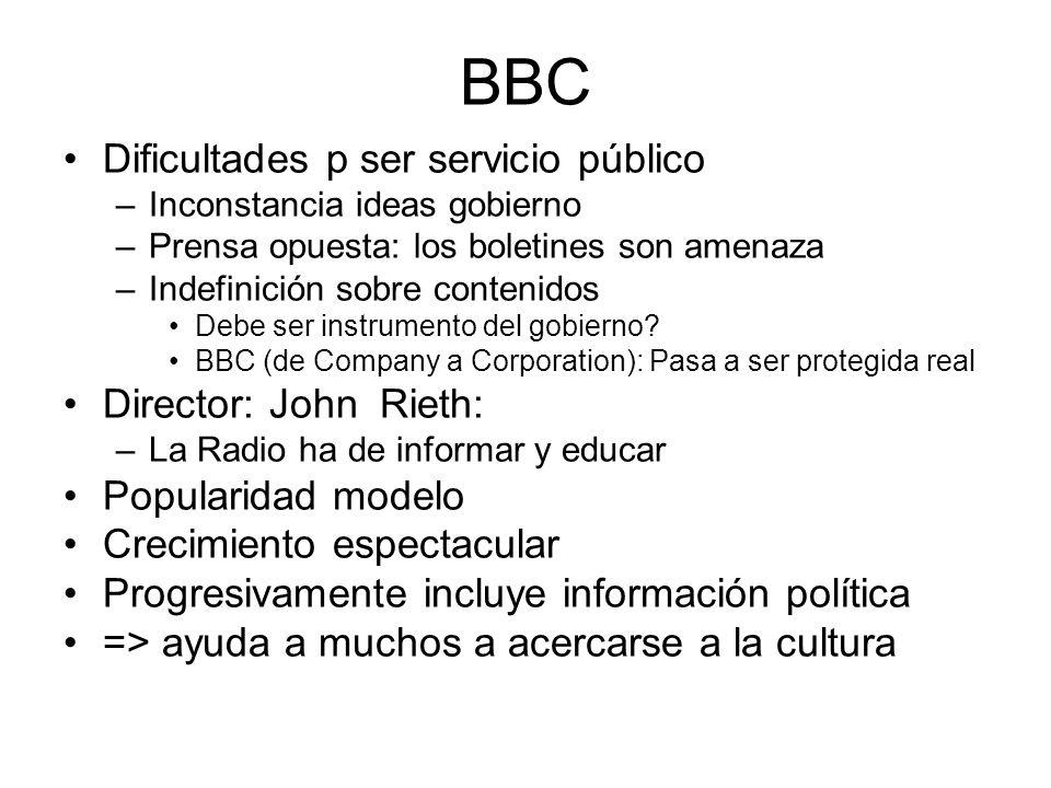 BBC Dificultades p ser servicio público Director: John Rieth:
