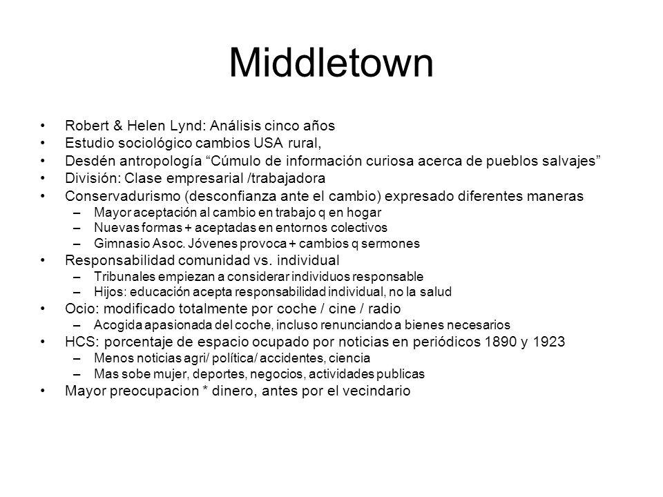 Middletown Robert & Helen Lynd: Análisis cinco años