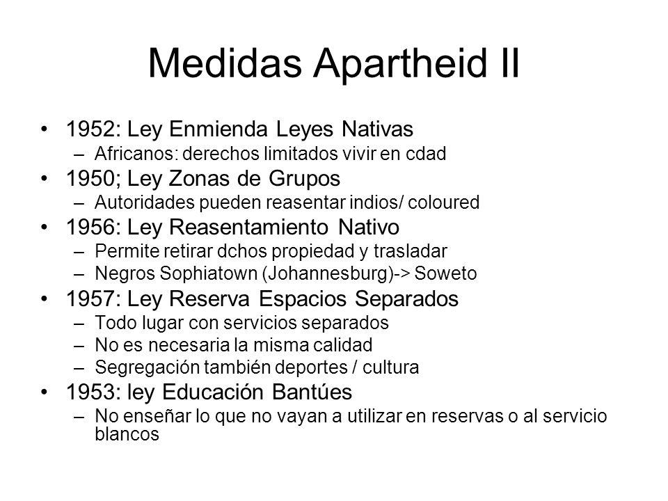 Medidas Apartheid II 1952: Ley Enmienda Leyes Nativas