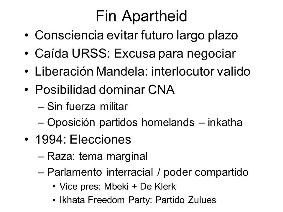 Fin Apartheid Consciencia evitar futuro largo plazo