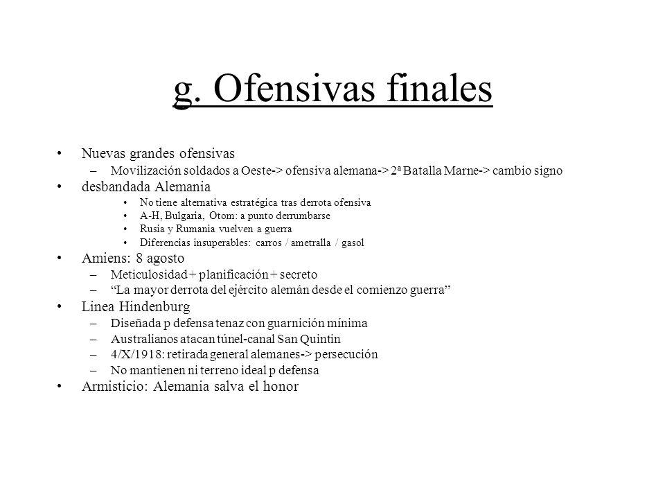 g. Ofensivas finales Nuevas grandes ofensivas desbandada Alemania