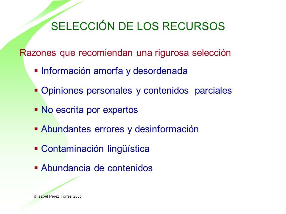 SELECCIÓN DE LOS RECURSOS