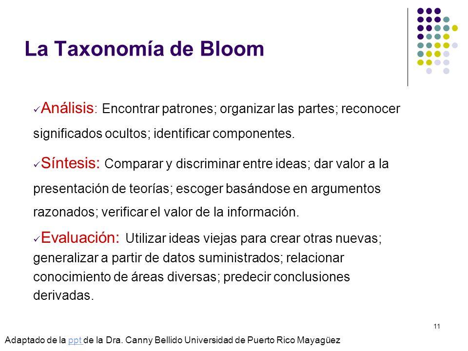 La Taxonomía de Bloom Análisis: Encontrar patrones; organizar las partes; reconocer significados ocultos; identificar componentes.