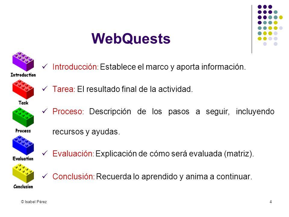 WebQuests Introducción: Establece el marco y aporta información.