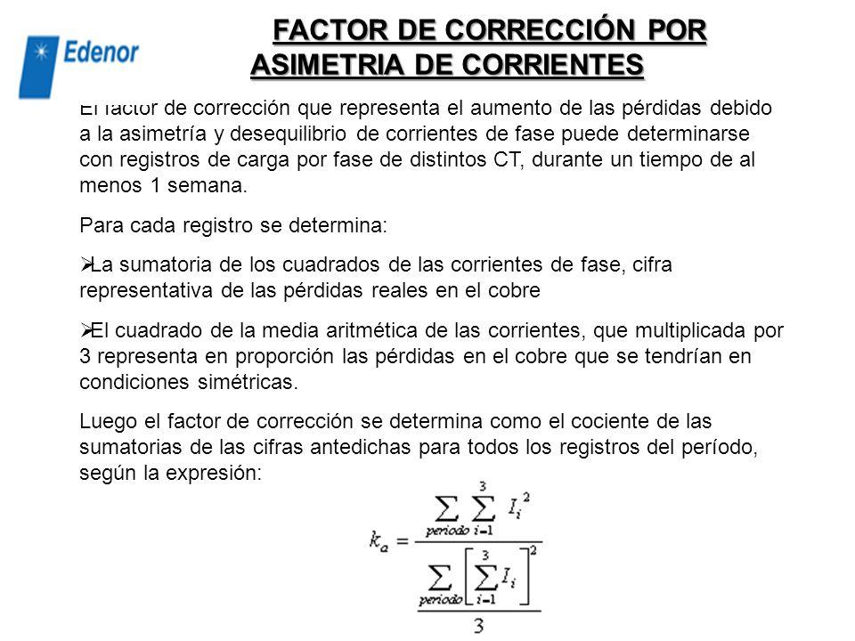 FACTOR DE CORRECCIÓN POR ASIMETRIA DE CORRIENTES
