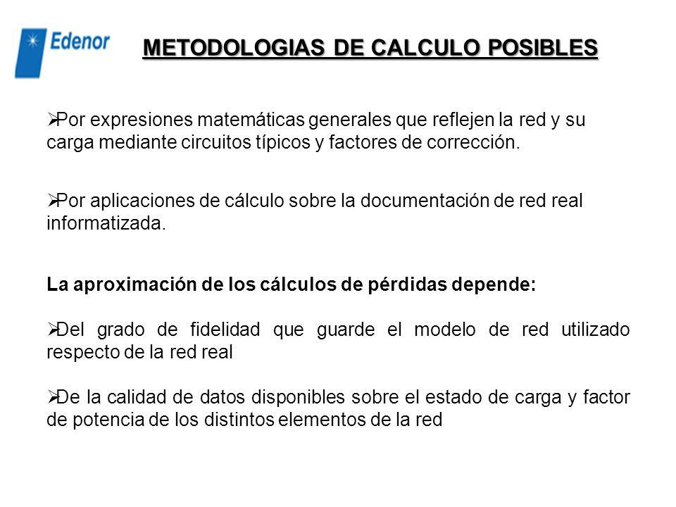 METODOLOGIAS DE CALCULO POSIBLES
