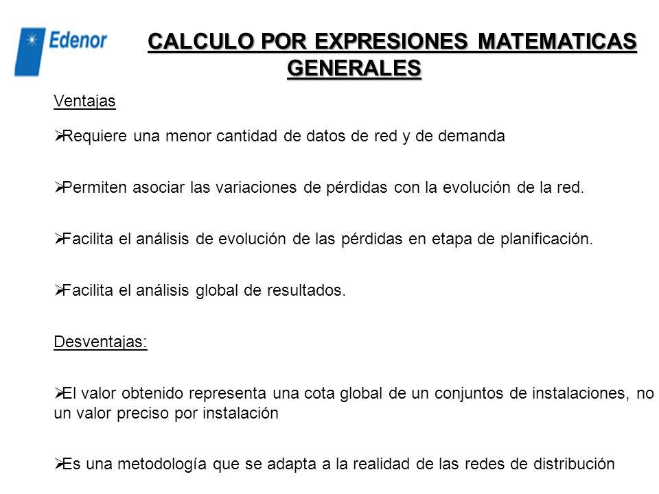 CALCULO POR EXPRESIONES MATEMATICAS GENERALES