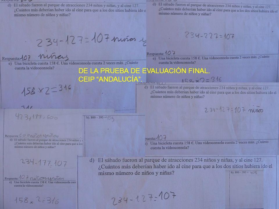 DE LA PRUEBA DE EVALUACIÓN FINAL.