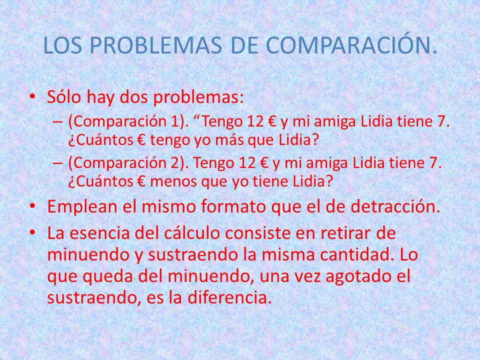 LOS PROBLEMAS DE COMPARACIÓN.