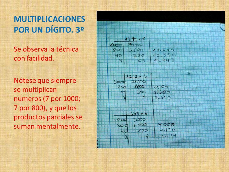 MULTIPLICACIONES POR UN DÍGITO. 3º