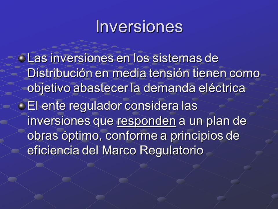 Inversiones Las inversiones en los sistemas de Distribución en media tensión tienen como objetivo abastecer la demanda eléctrica.