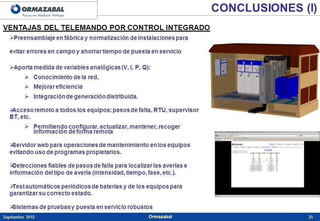 CONCLUSIONES (I) VENTAJAS DEL TELEMANDO POR CONTROL INTEGRADO
