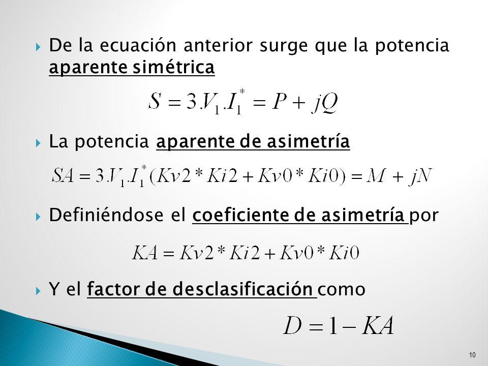 De la ecuación anterior surge que la potencia aparente simétrica