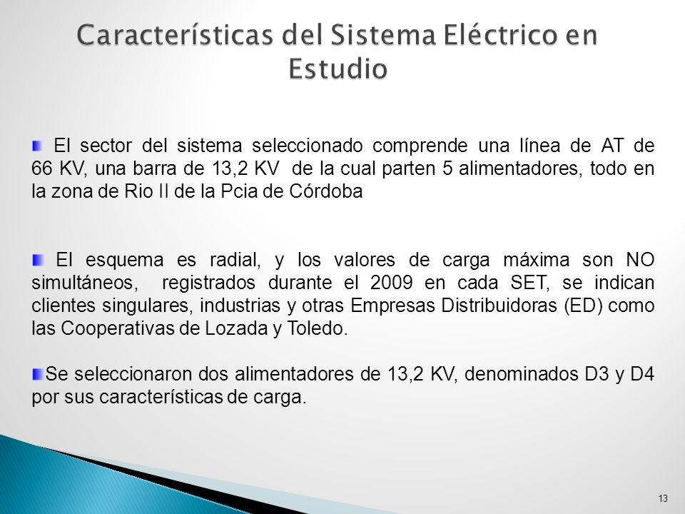 Características del Sistema Eléctrico en Estudio