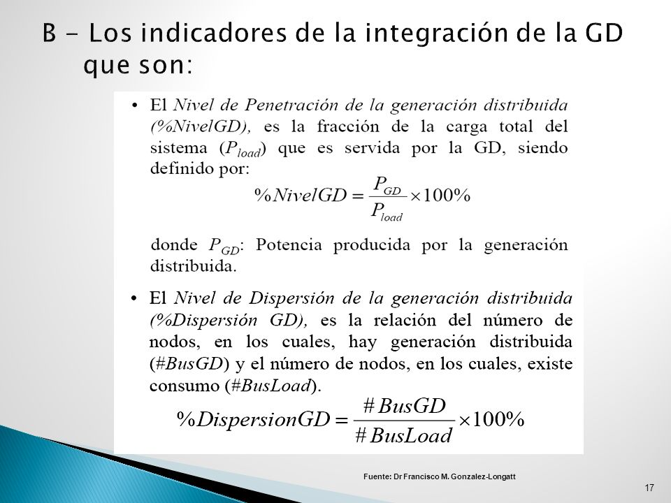 B - Los indicadores de la integración de la GD que son: