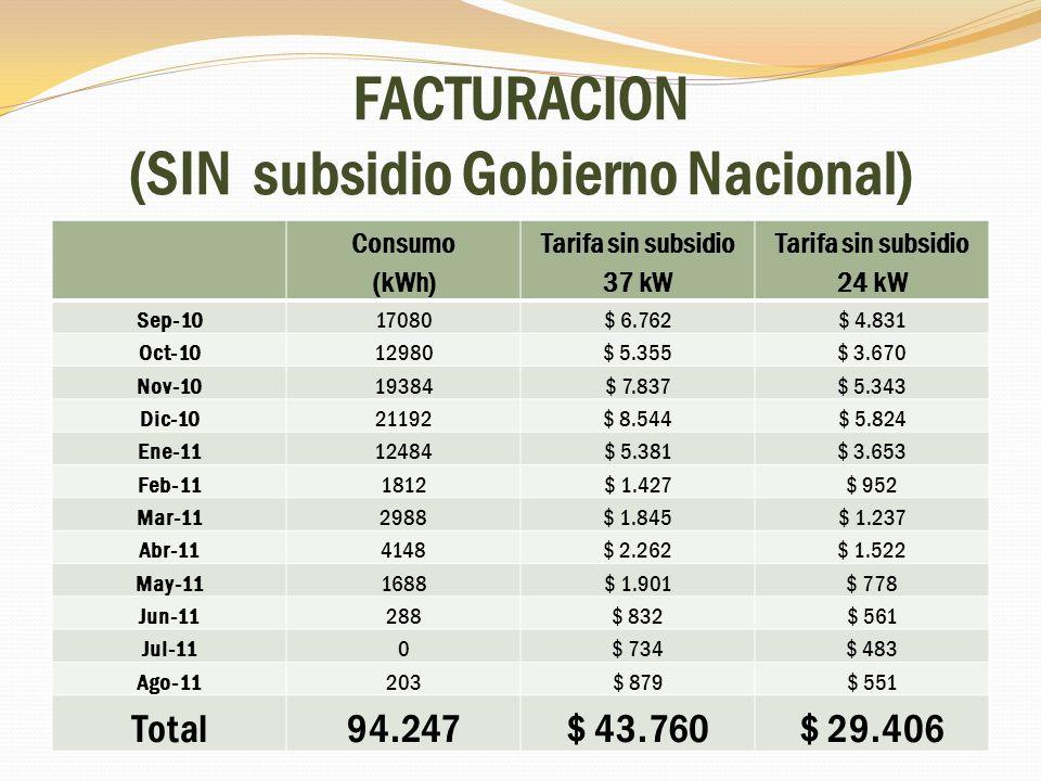 FACTURACION (SIN subsidio Gobierno Nacional)