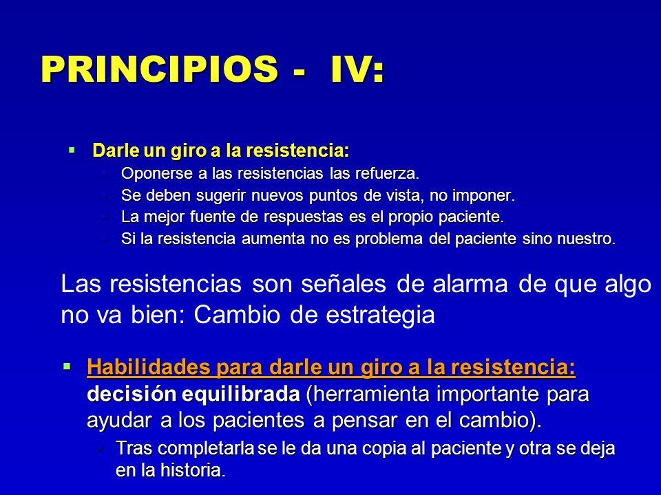 PRINCIPIOS - IV:Darle un giro a la resistencia: Oponerse a las resistencias las refuerza. Se deben sugerir nuevos puntos de vista, no imponer.