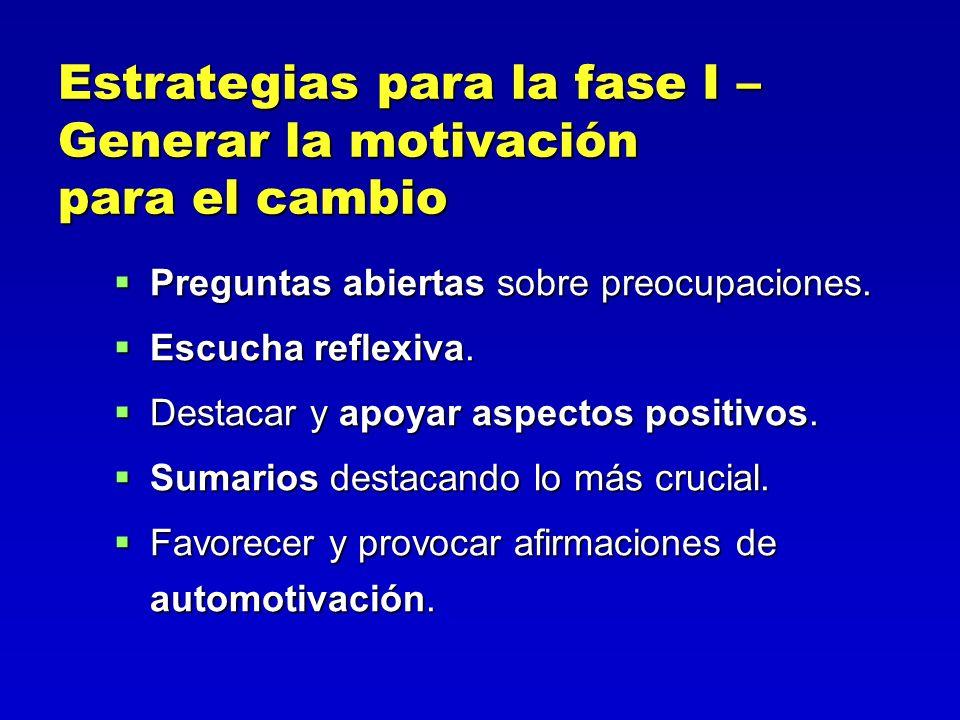 Estrategias para la fase I – Generar la motivación para el cambio