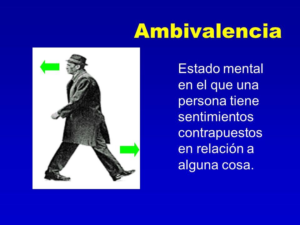 Ambivalencia Estado mental en el que una persona tiene sentimientos contrapuestos en relación a alguna cosa.