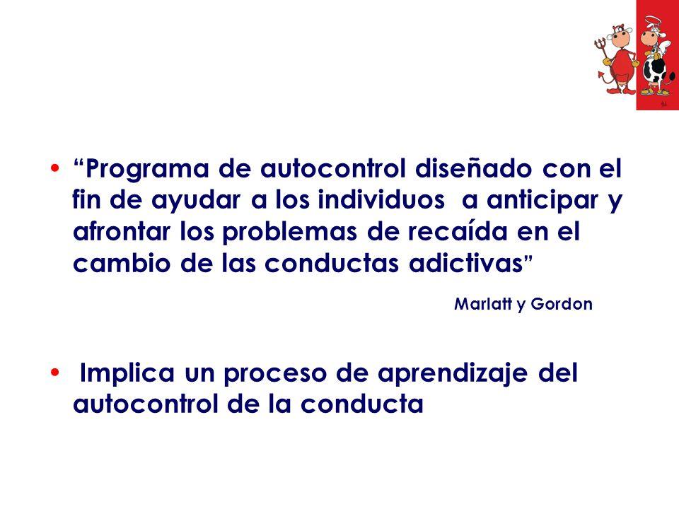 Implica un proceso de aprendizaje del autocontrol de la conducta