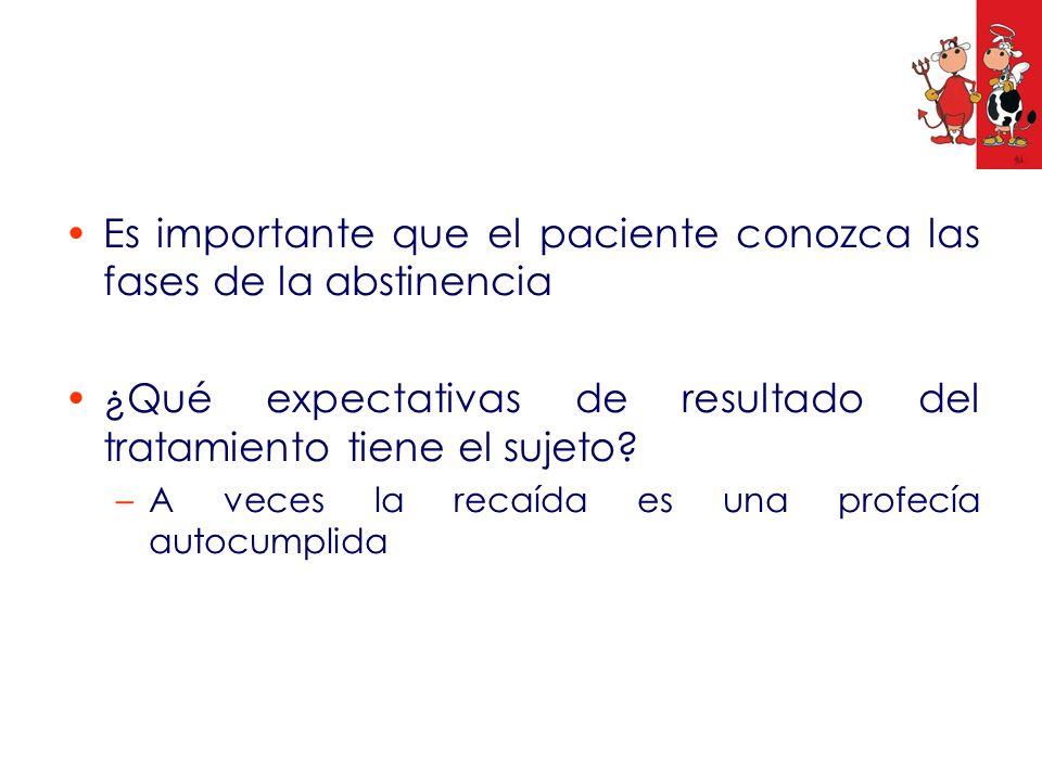 Es importante que el paciente conozca las fases de la abstinencia