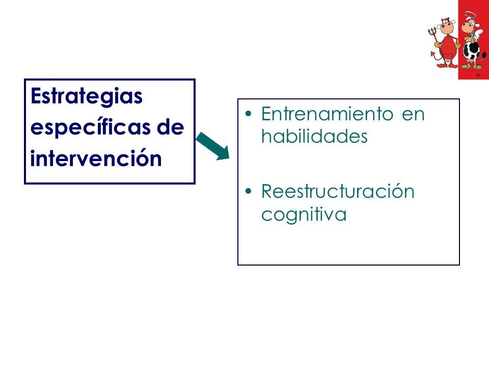 Estrategias específicas de intervención Entrenamiento en habilidades