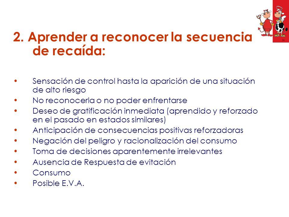 2. Aprender a reconocer la secuencia de recaída: