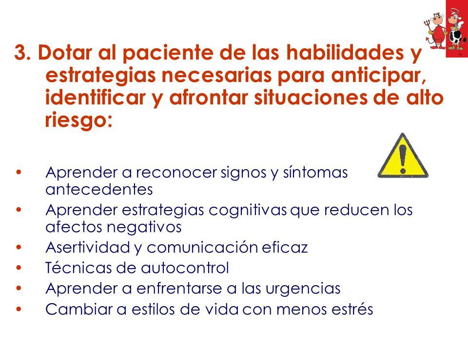 3. Dotar al paciente de las habilidades y estrategias necesarias para anticipar, identificar y afrontar situaciones de alto riesgo: