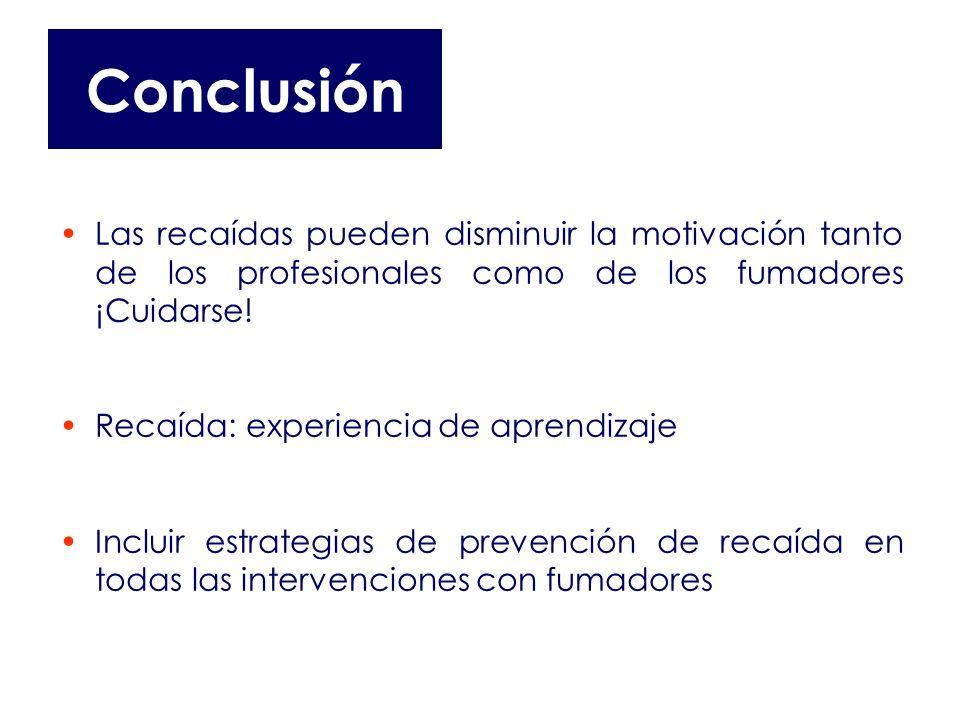 Conclusión Las recaídas pueden disminuir la motivación tanto de los profesionales como de los fumadores ¡Cuidarse!