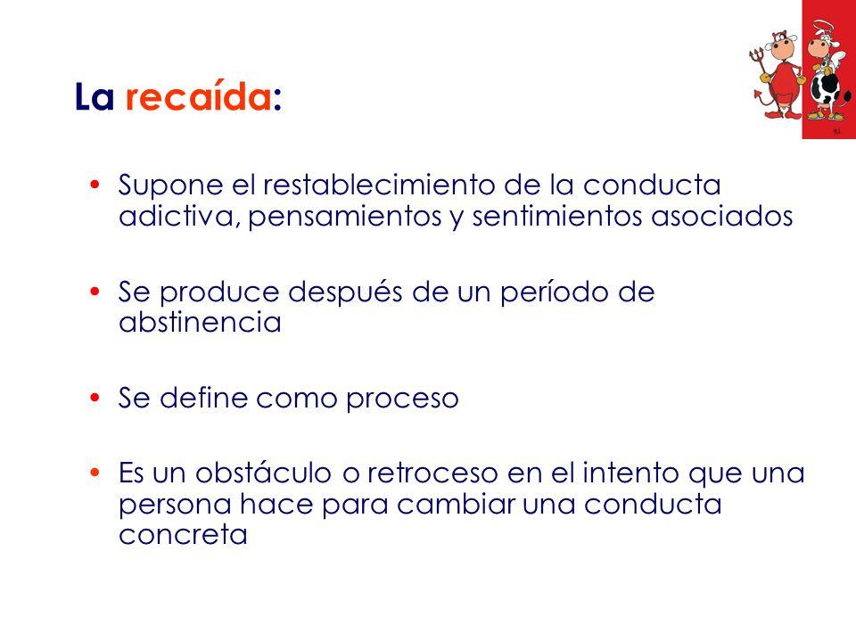 La recaída: Supone el restablecimiento de la conducta adictiva, pensamientos y sentimientos asociados.