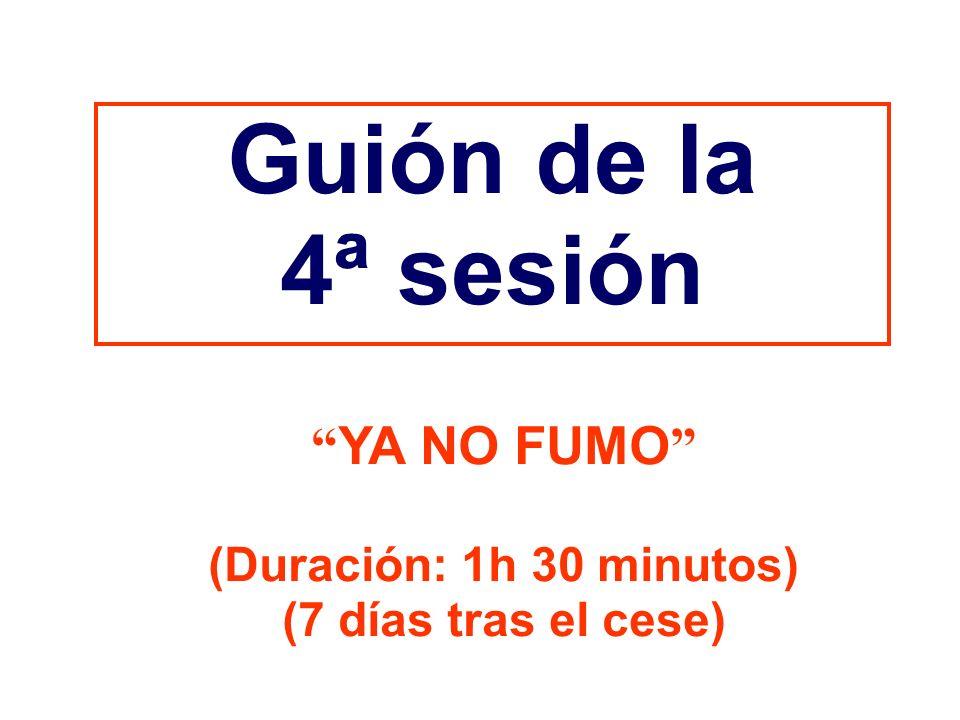 Guión de la 4ª sesión YA NO FUMO (Duración: 1h 30 minutos)