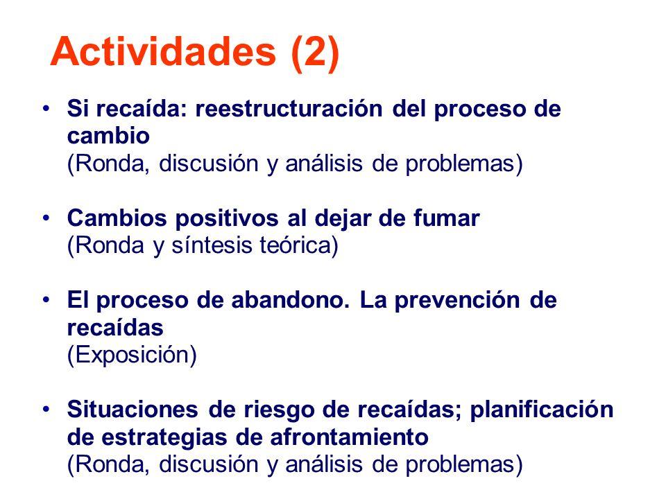 Actividades (2) Si recaída: reestructuración del proceso de cambio