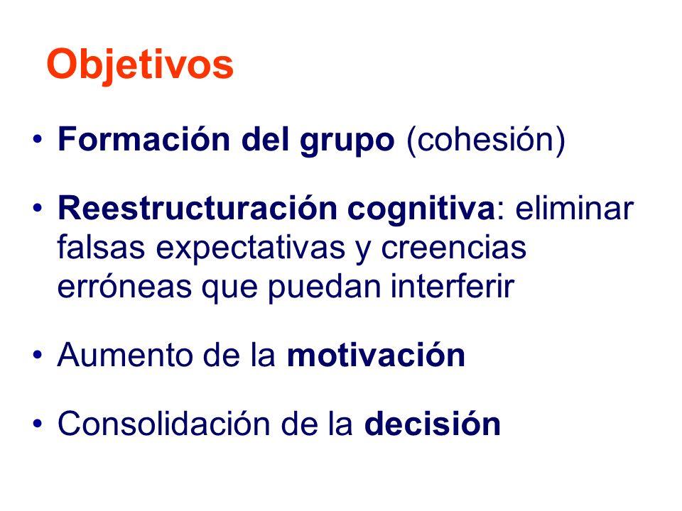 Objetivos Formación del grupo (cohesión)