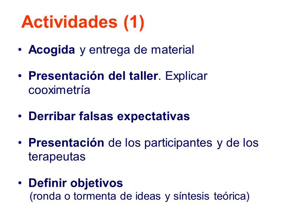 Actividades (1) Acogida y entrega de material