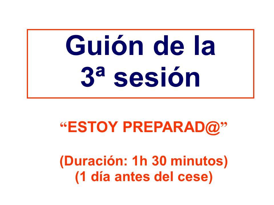 Guión de la 3ª sesión ESTOY PREPARAD@ (Duración: 1h 30 minutos)