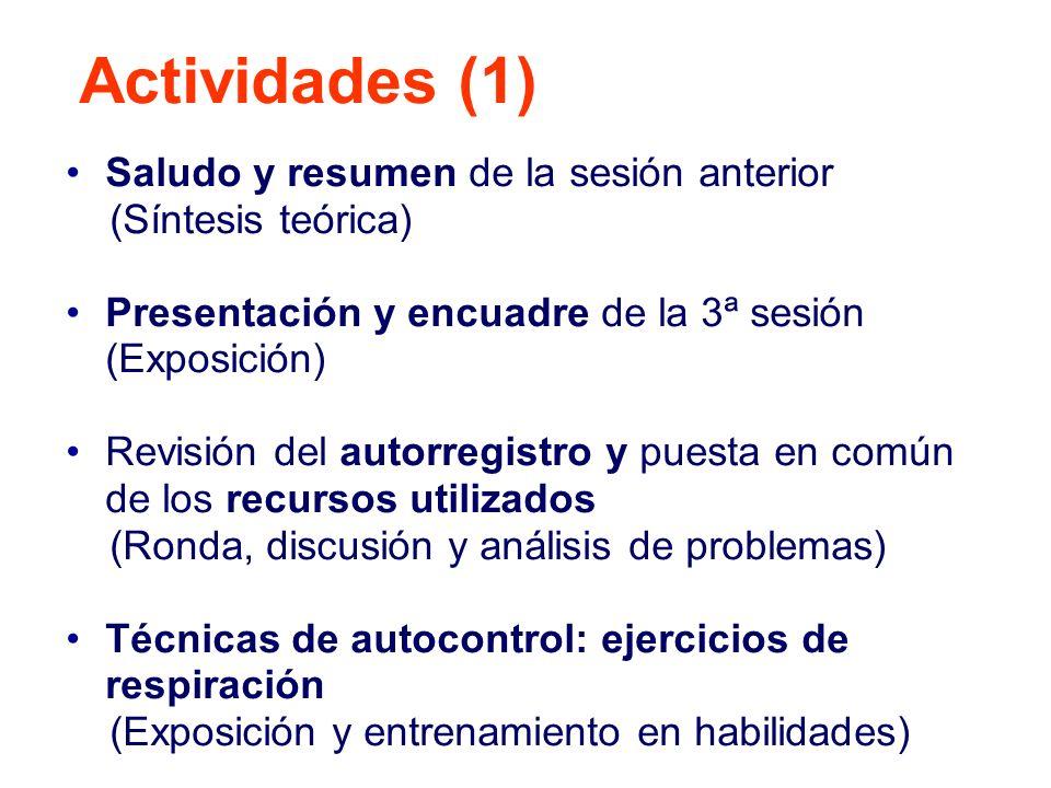 Actividades (1) Saludo y resumen de la sesión anterior