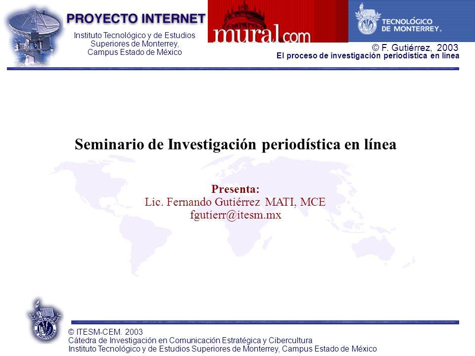 Seminario de Investigación periodística en línea