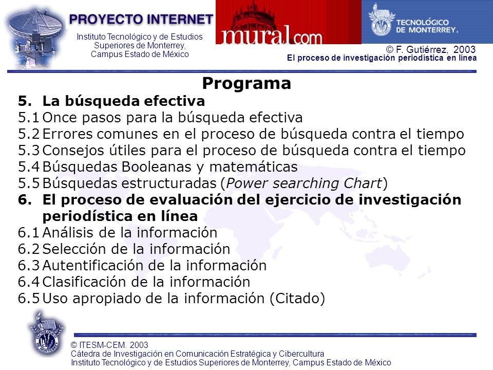 Programa 5. La búsqueda efectiva