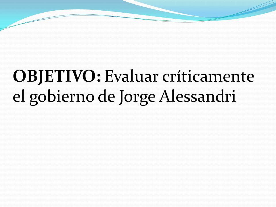 OBJETIVO: Evaluar críticamente el gobierno de Jorge Alessandri