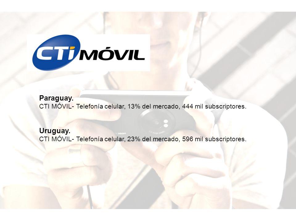 Paraguay. CTI MÓVIL- Telefonía celular, 13% del mercado, 444 mil subscriptores. Uruguay.