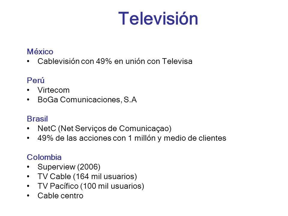 Televisión México Cablevisión con 49% en unión con Televisa Perú