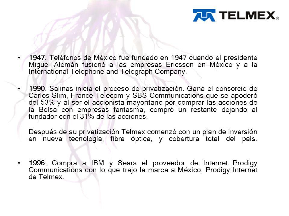 1947. Teléfonos de México fue fundado en 1947 cuando el presidente Miguel Alemán fusionó a las empresas Ericsson en México y a la International Telephone and Telegraph Company.