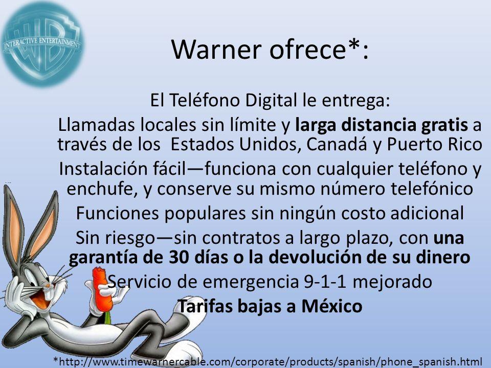 Warner ofrece*: El Teléfono Digital le entrega: