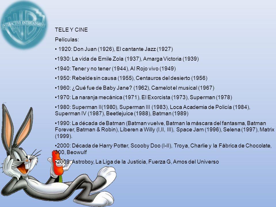 TELE Y CINEPelículas: 1920: Don Juan (1926), El cantante Jazz (1927) 1930: La vida de Emile Zola (1937), Amarga Victoria (1939)