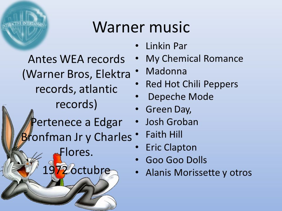 Warner music Linkin Par. My Chemical Romance. Madonna. Red Hot Chili Peppers. Depeche Mode. Green Day,
