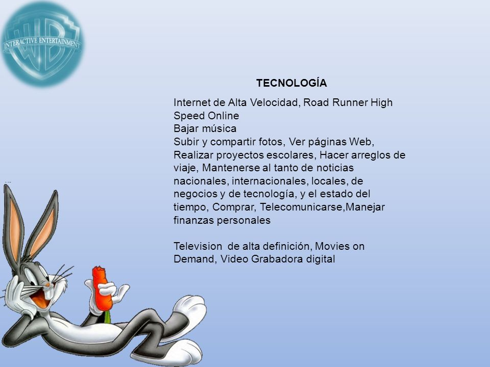 TECNOLOGÍA Internet de Alta Velocidad, Road Runner High Speed Online. Bajar música.