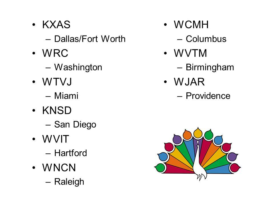 KXAS WRC WTVJ KNSD WVIT WNCN WCMH WVTM WJAR Dallas/Fort Worth